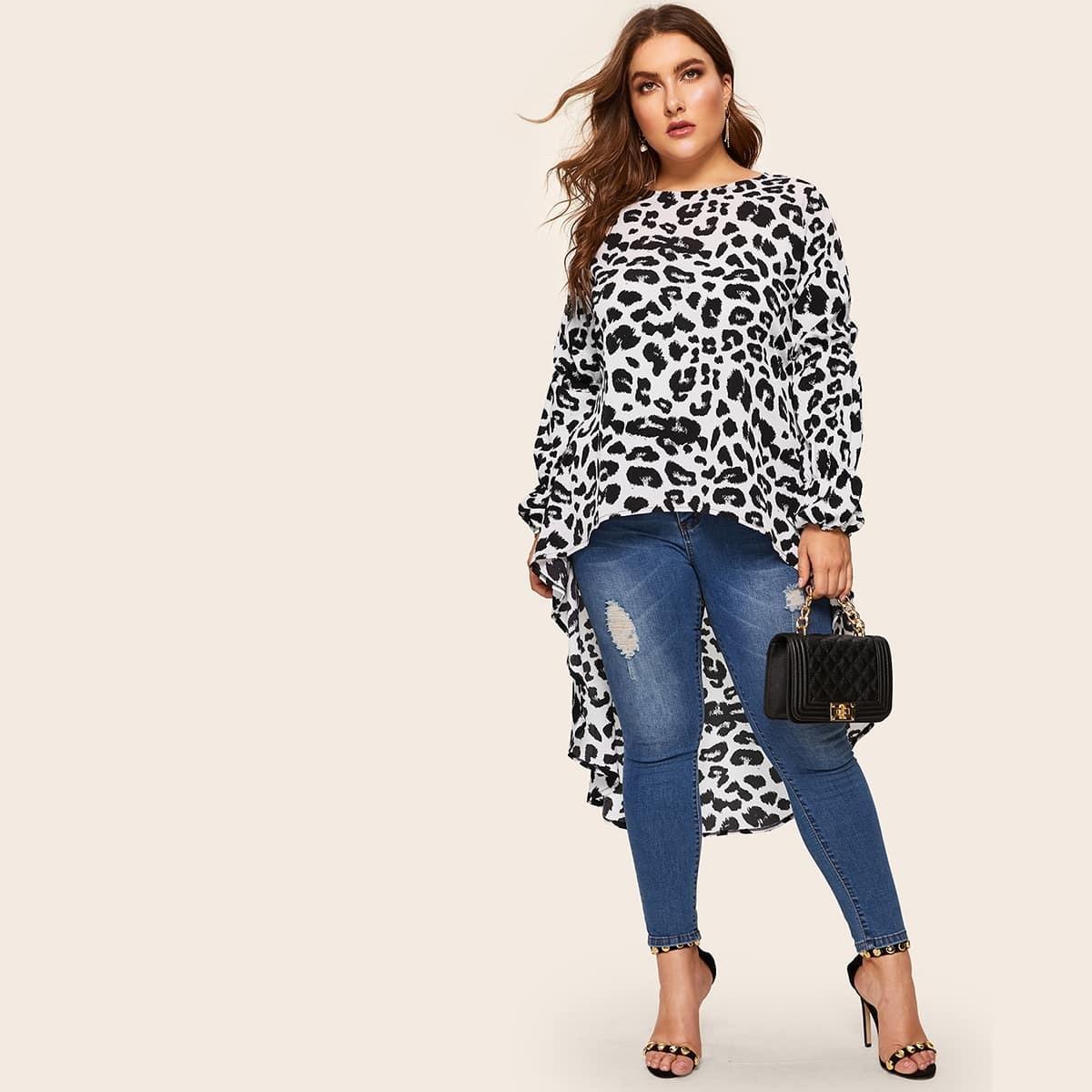 Veel kleurig Ingetogen Luipaard Grote maten blouses Asymmetrisch