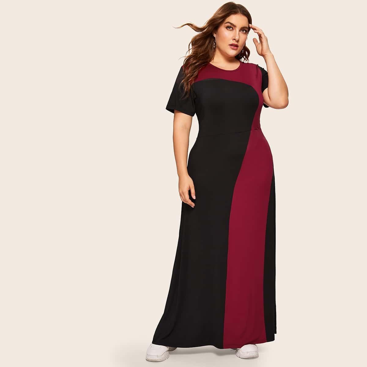 Veel kleurig Ingetogen Grote maten jurken Kleurblok