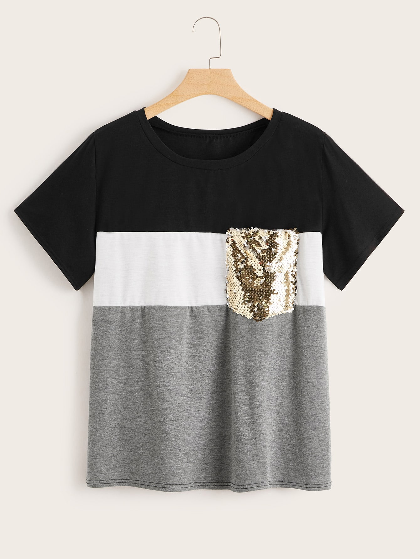Plus Cut And Sew Contrast Sequin Tee null