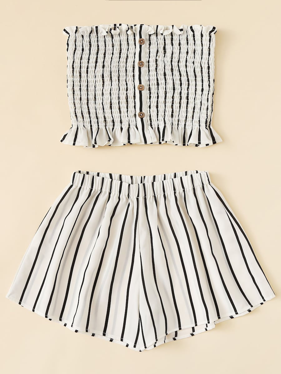 Plus Lettuce Frill Striped Tube Top With Shorts null