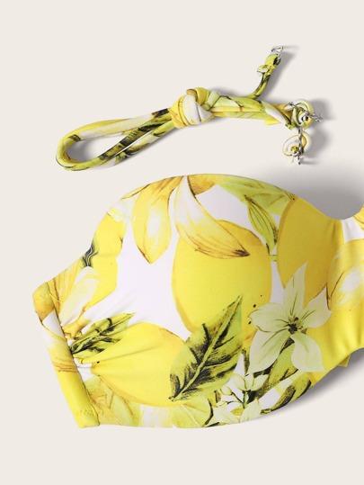 SheIn / Random Lemon Print Underwire Top With Tie Side Bikini