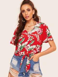Floral Print Tie Waist Crop Blouse
