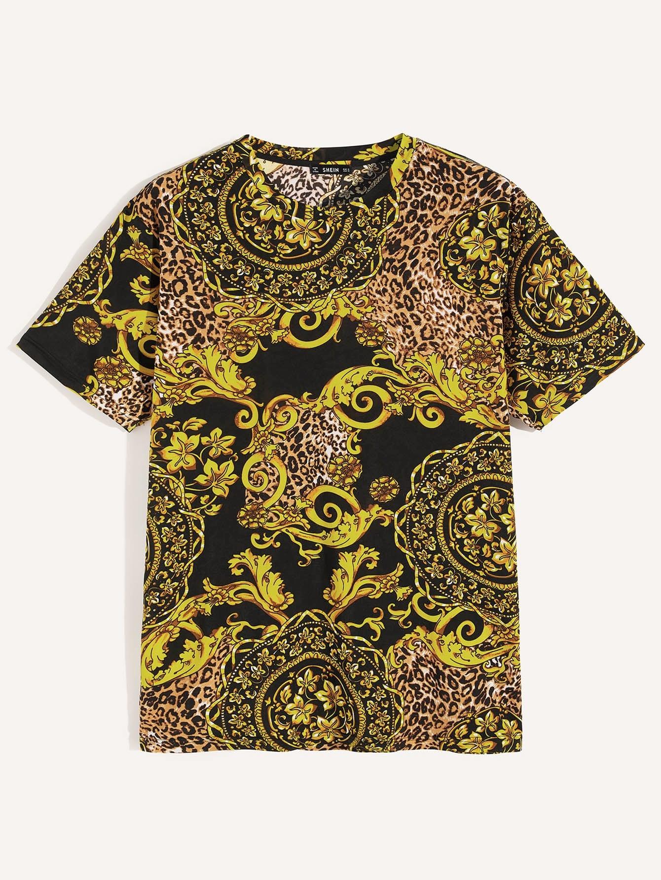 Купить Мужская футболка Scroll & Leopard, null, SheIn