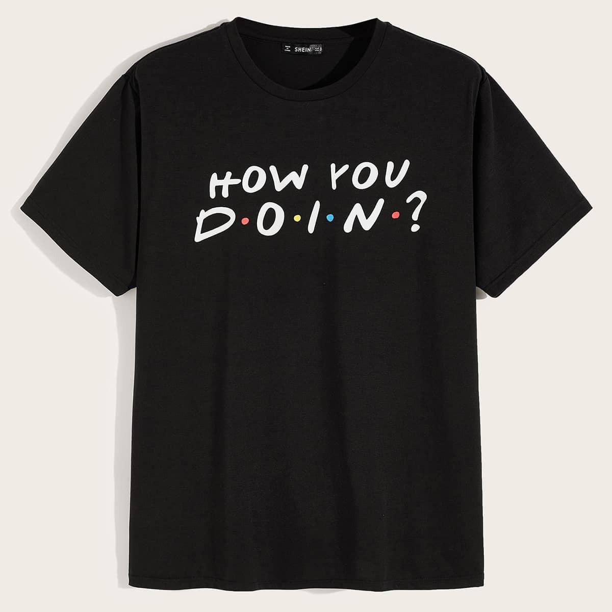 Zwart Casual Slogan Shirts mannen