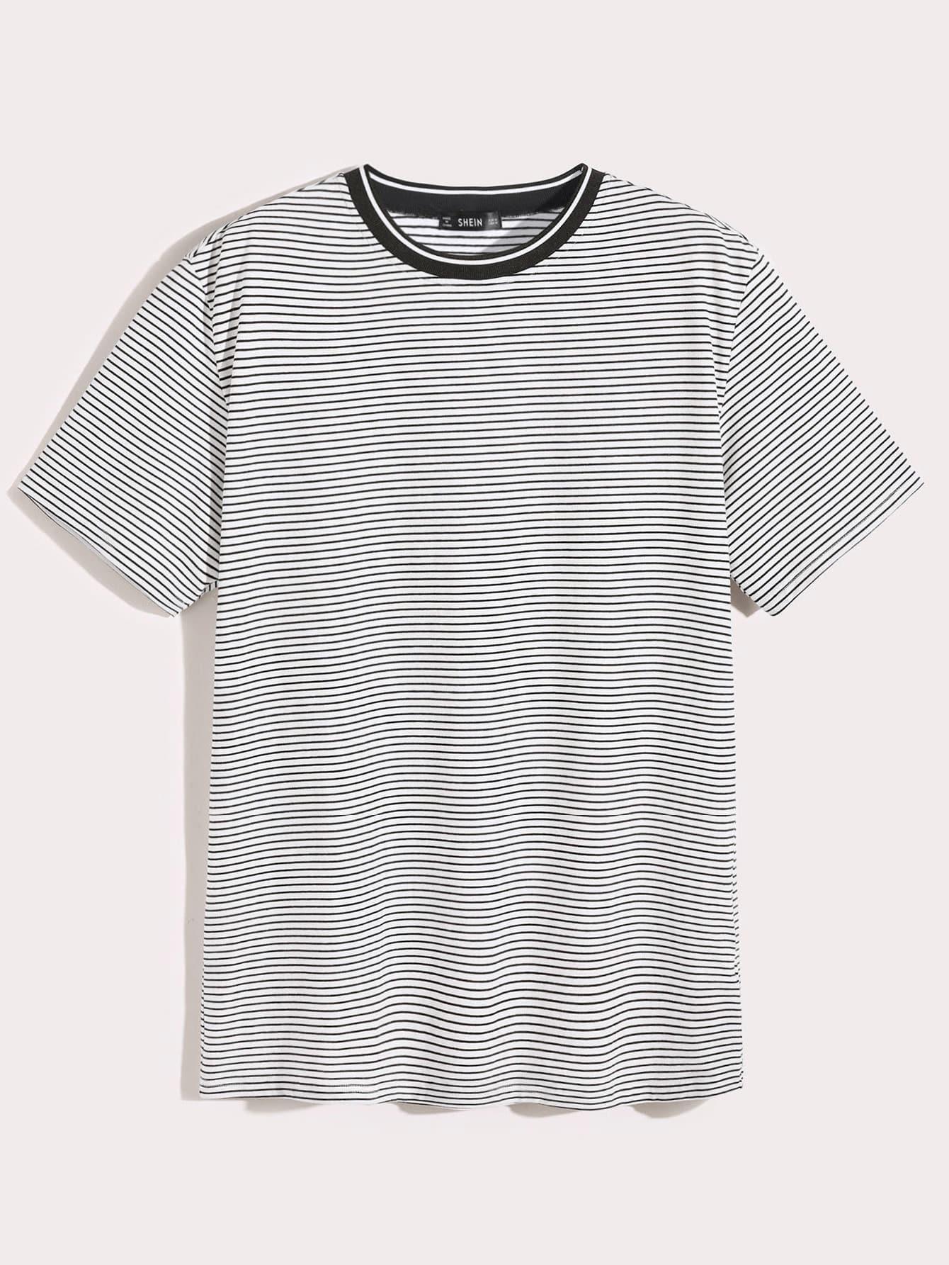 Купить Мужская футболка в полоску с коротким рукавом, null, SheIn