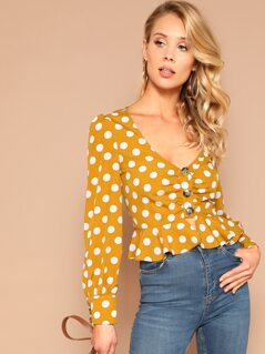 Polka Dot Button Front Peplum Top