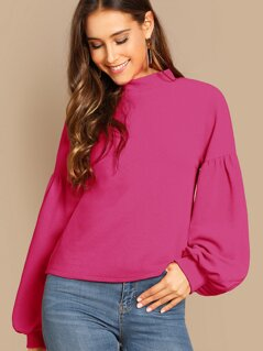 Buttoned Back Lantern Sleeve Top