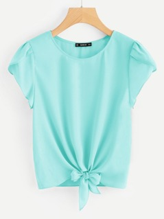Knotted Hem Petal Sleeve Solid Top