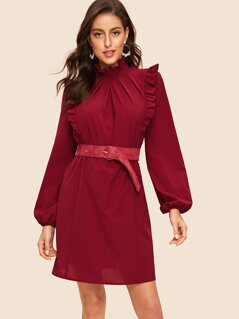 Frilled Mock Neck Pleated Dress With Belt