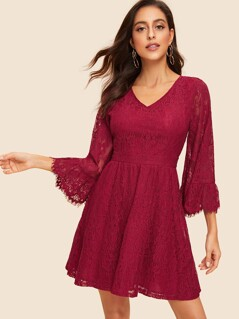 Bell Sleeve Fit & Flare Lace Dress