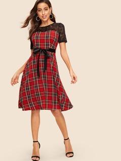 Lace Yoke Self Tie Tartan Flared Dress