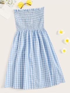 Frilled Trim Shirred Bodice Plaid Tube Dress