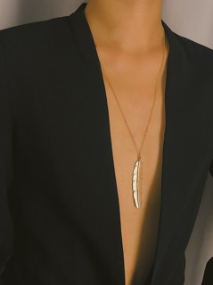 Gold Feather Pendant Chain Necklace