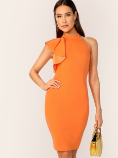 Zip Back Ruffle One Side Bodycon Dress