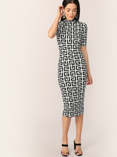 Mock-neck Greek Fret Fitted Pencil Dress