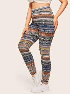 Plus High Waist Aztec Print Leggings