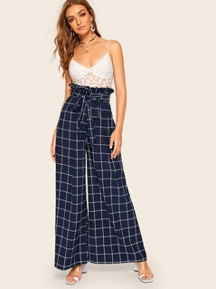 Tied Paperbag Waist Grid Wide Leg Pants
