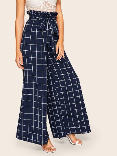 SheIn / Tied Paperbag Waist Grid Wide Leg Pants