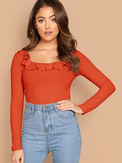 Ruffle Trim Rib-knit Top
