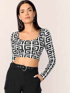 Crop Scoop Neck Greek Fret Top