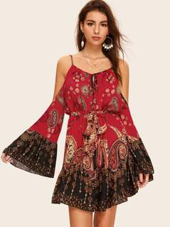 Tie Neck Cold Shoulder Exaggerate Bell Sleeve Tribal Dress