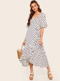 Polka Dot Tie Side Surplice Wrap Ruffle Dress