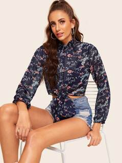 Shirred Neck Knot Front Floral Crop Top