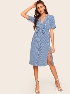 Plunging Neck Knot Front Split Striped Dress