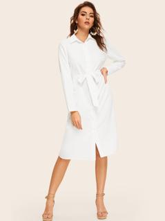 Tie Waist Solid Shirt Dress
