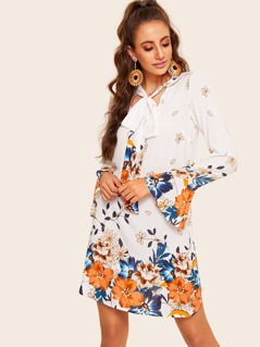 Tie Neck Bell Sleeve Tunic Floral Dress