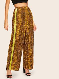Snakeskin Print Contrast Side Seam Wide Leg Pants