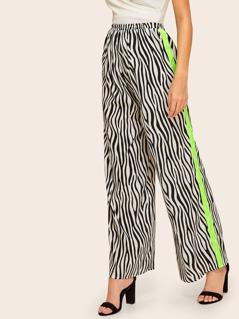 Zebra Print Contrast Sideseam Wide Leg Pants