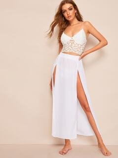 Double Split Thigh Solid Maxi Skirt