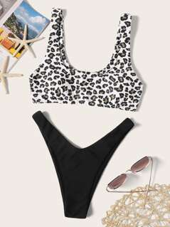 Leopard Tank Top With High Cut Bikini Set