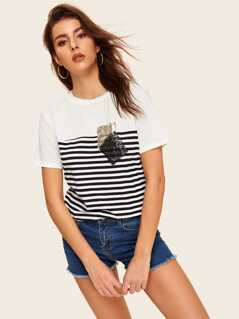 Sequin Patched Striped Tee