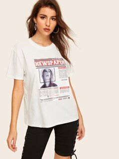 Newspaper Print Short Sleeve Tee