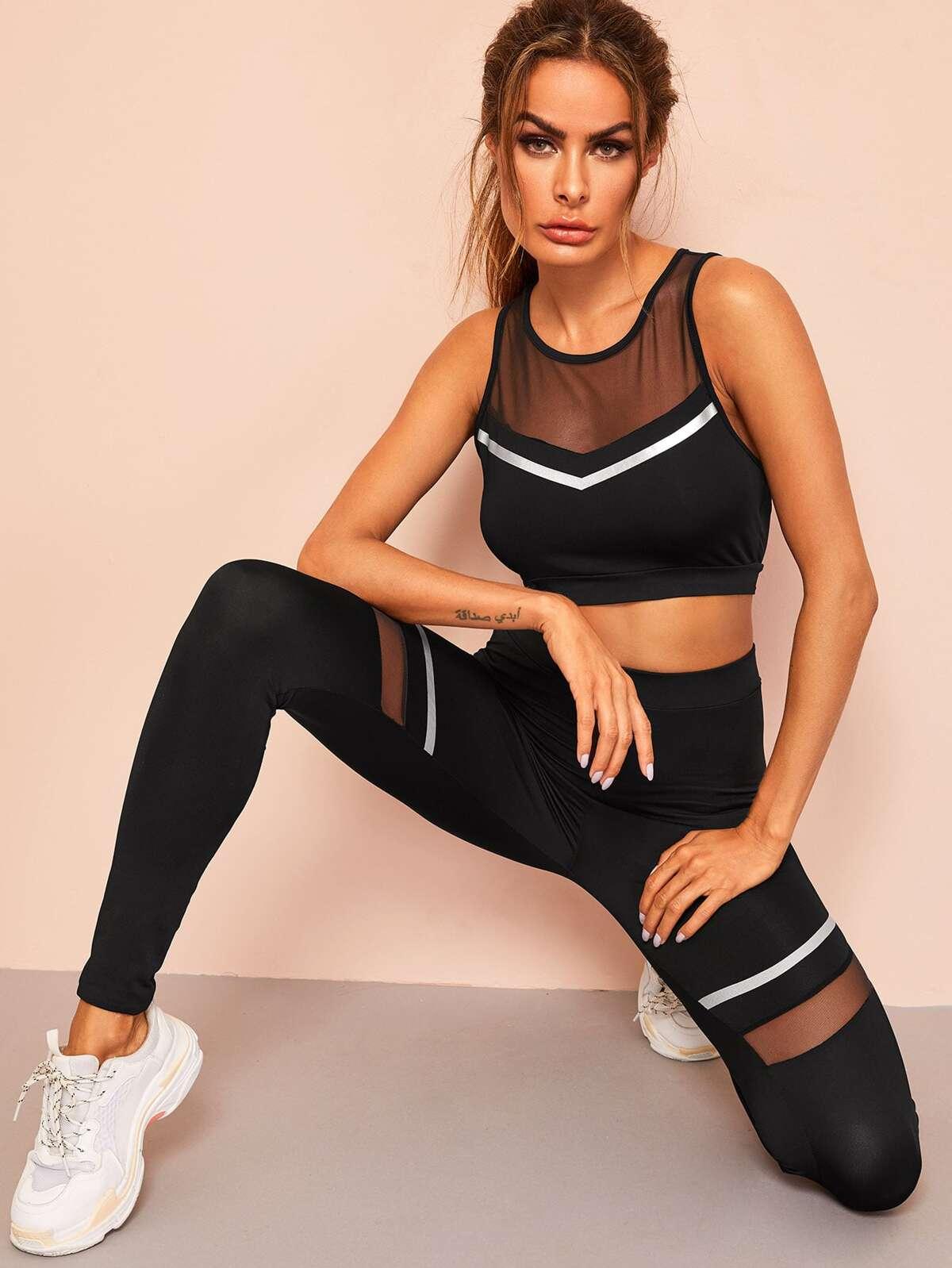 Mesh Insert Striped Sports Bra and Leggings Set