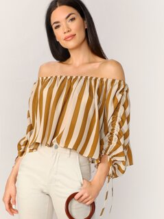 Drawstring Bishop Sleeve Striped Bardot Top