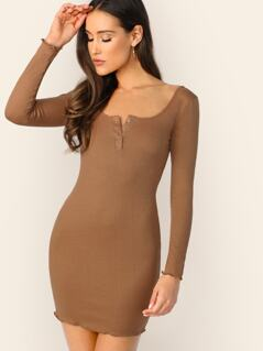 Press Buttoned Front Rib-knit Bodycon Dress