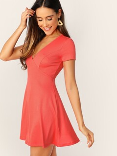 V-neck Rib-knit Fit & Flare Dress