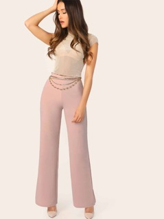 Wide Leg Solid Pants Without Chain