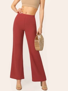 Flare Leg Solid Pants