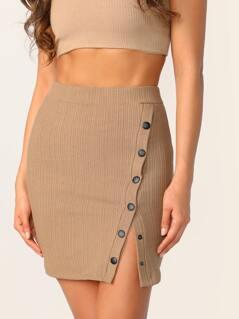 Asymmetrical Button Front Rib-knit Skirt