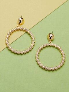 Pearl Detail Large Dangle Hoop Stud Back Earrings