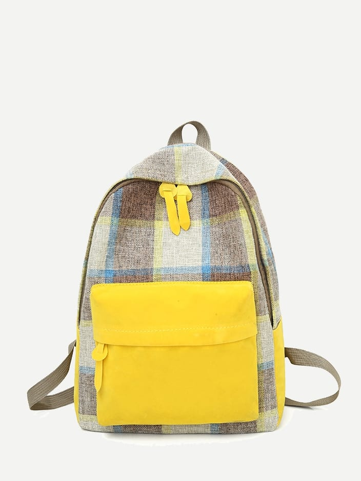 Kids Pocket Front Plaid Backpack null