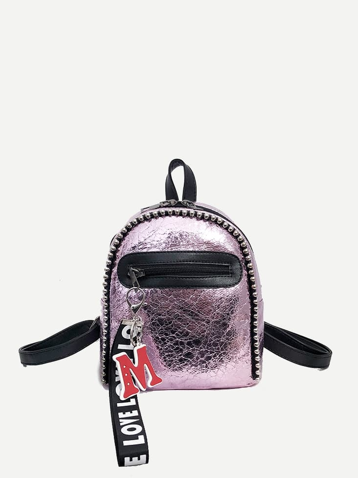 Kids Letter Charm Studded Trim Backpack null
