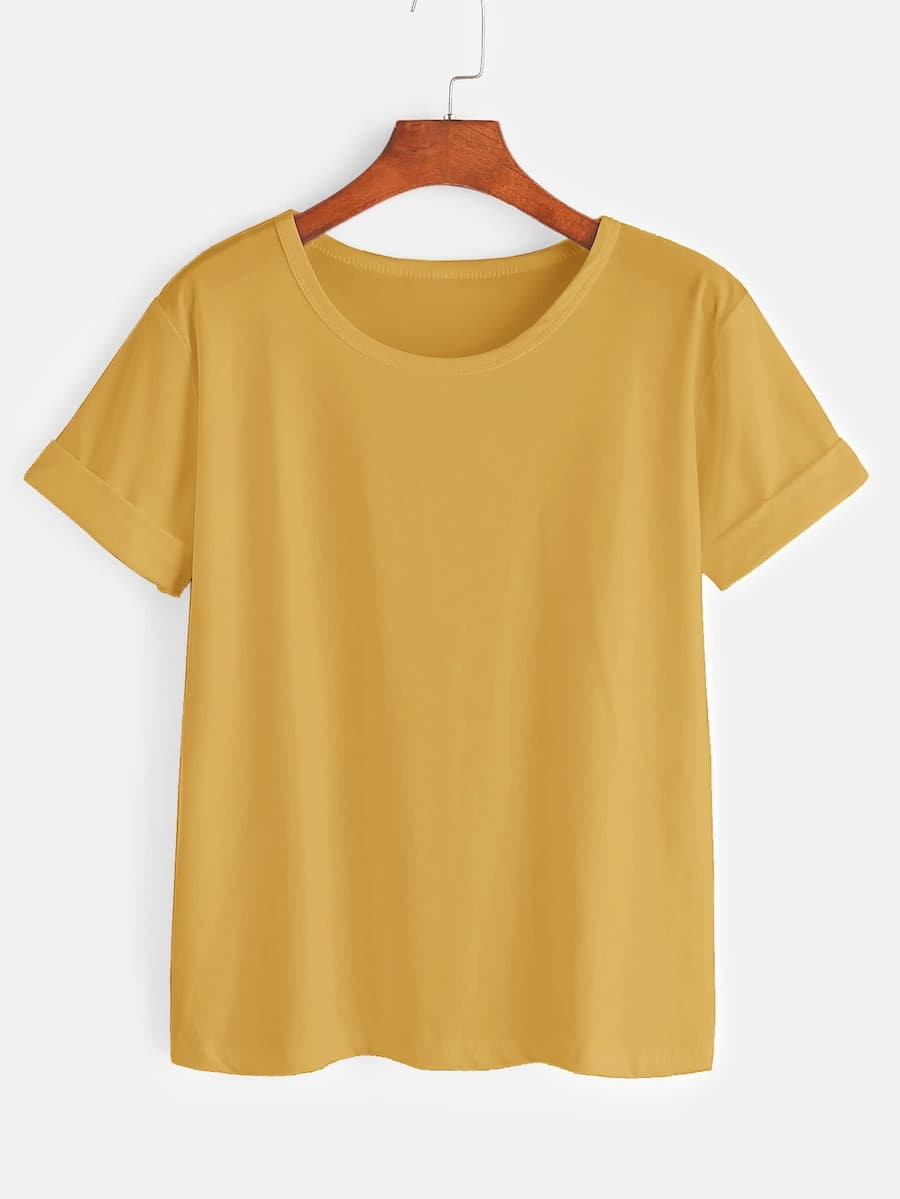 Plus Roll Up Sleeve Solid Tee null