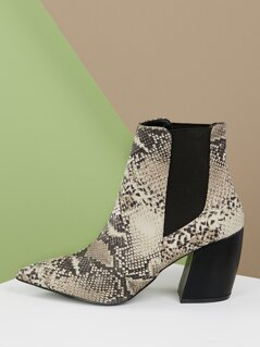 Pointed Toe Stretch Side Chunky Heel Snake Booties