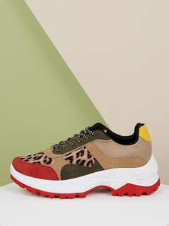 Leopard Colorblock Lace Front Dad Sneakers