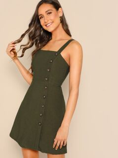 Button Front Fit & Flare Dress